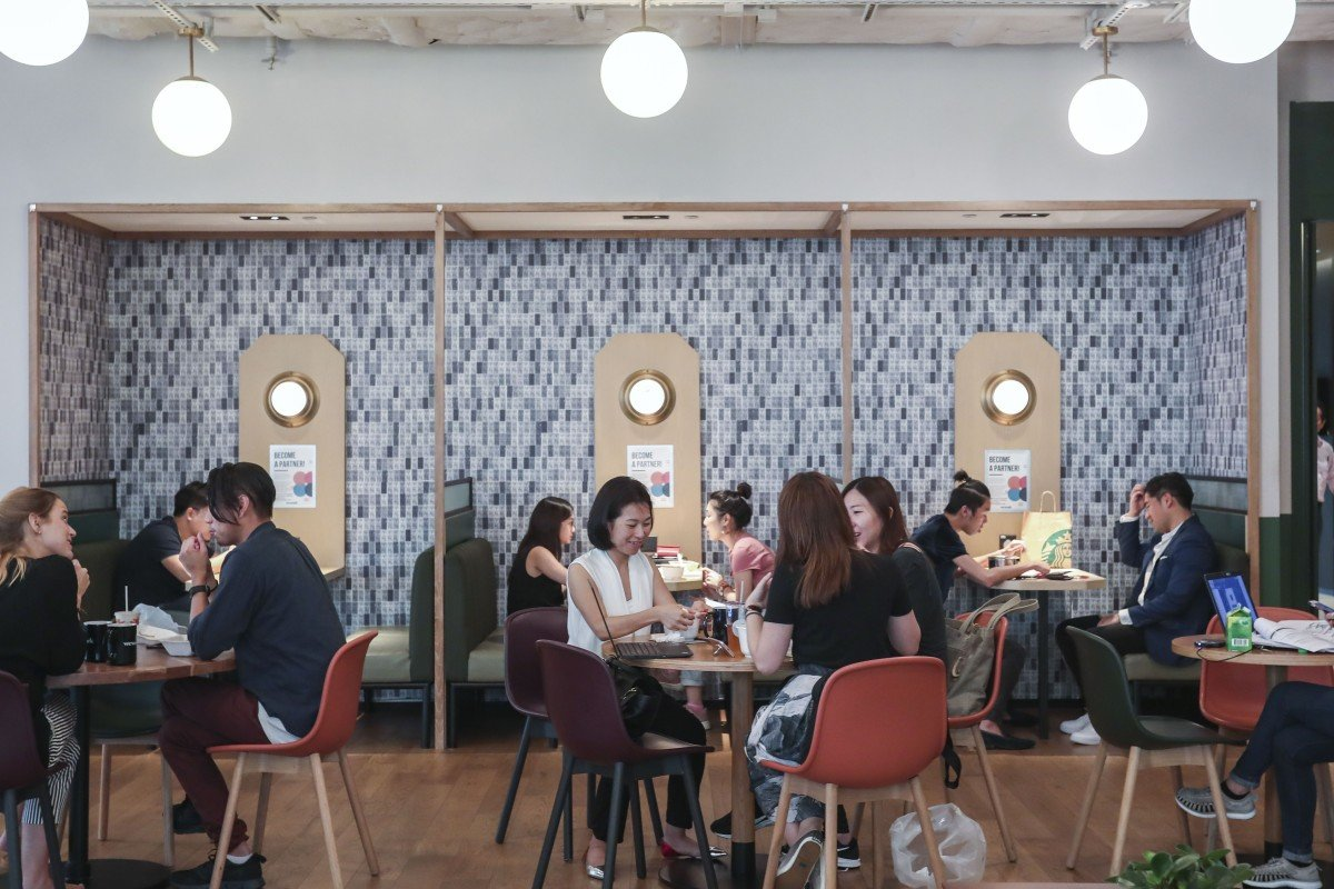 Interior of WeWork, a shared office space, in Causeway Bay. Photo: Jonathan Wong