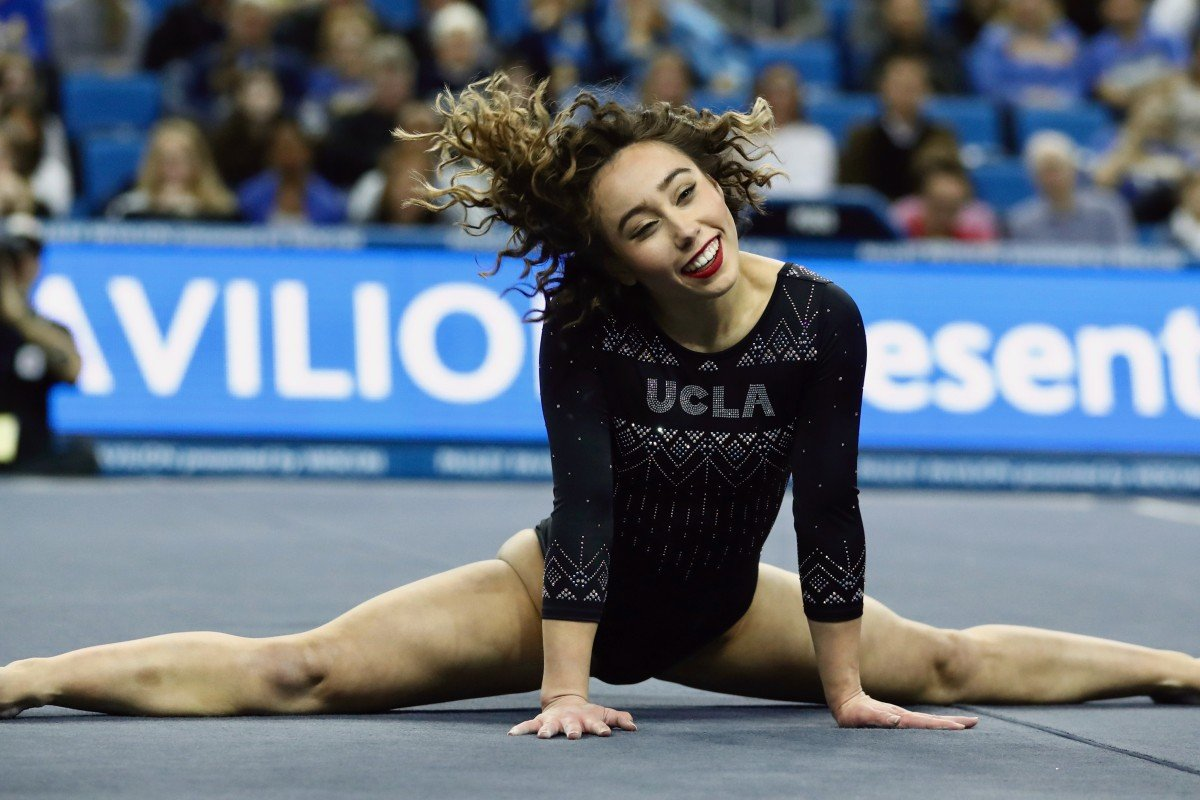 5a27f994 Katelyn Ohashi of UCLA during an NCAA college gymnastics match in Los  Angeles. Photo: