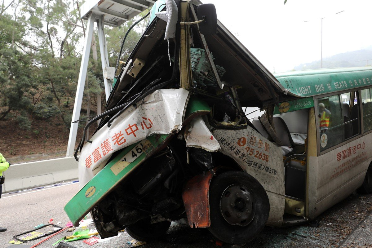Driver killed, 16 passengers injured after green minibus flips onto