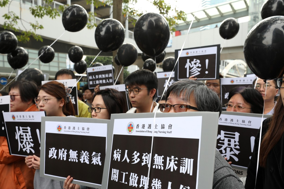 Protesting Hong Kong nurses demand action over staffing
