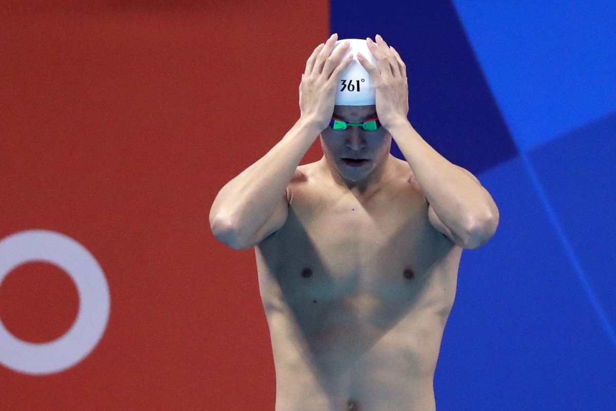 04d49fbff China's Sun Yang prepares to swim in the men's 1,500m freestyle final  during the 2018
