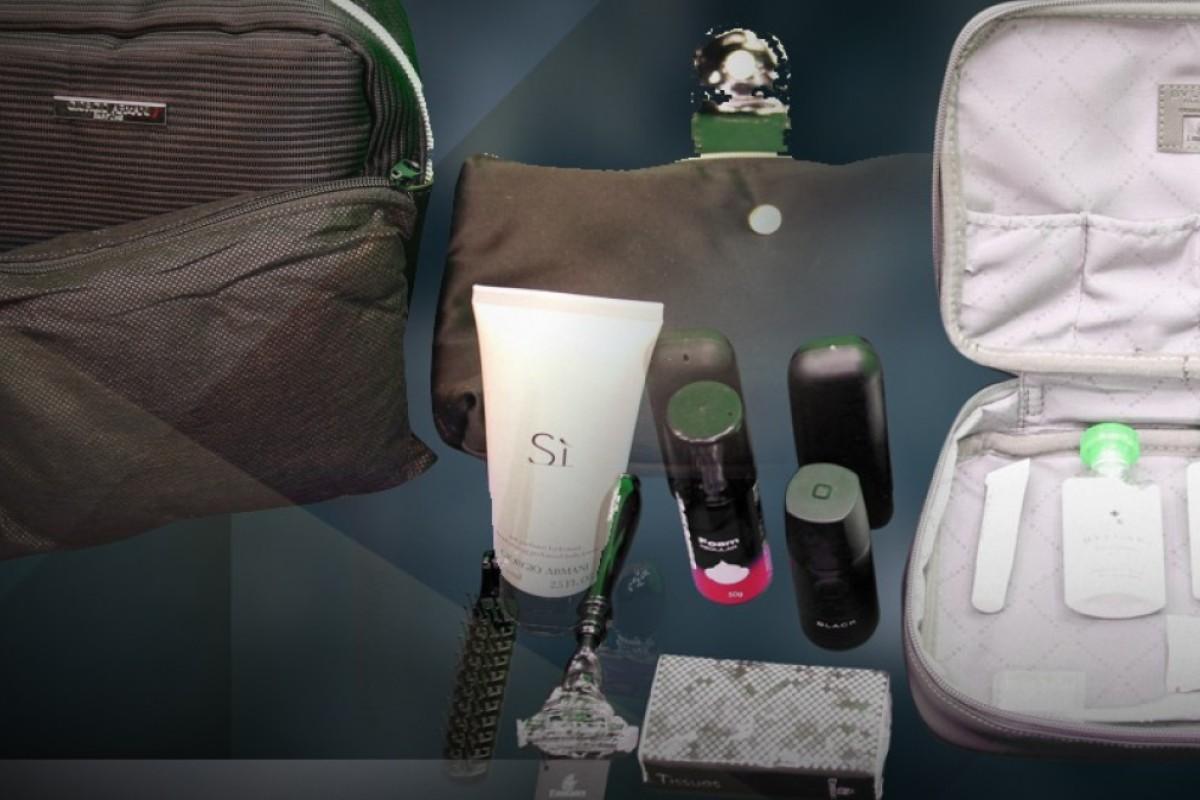 A peek inside the amenities bag in first-class on Emirates, Qatar