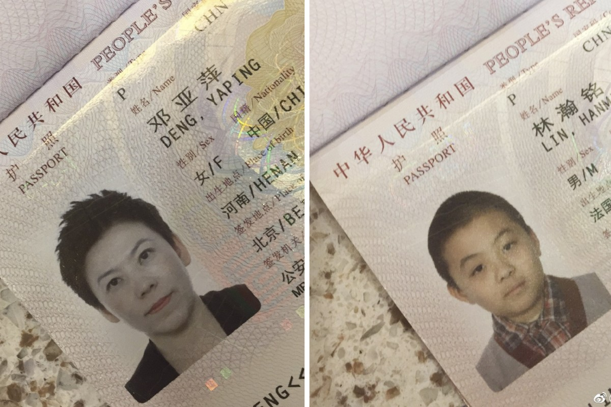Deng Yaping posted photos of her and her son's passports on Sunday, saying both of them had always been Chinese nationals. Photo: Weibo