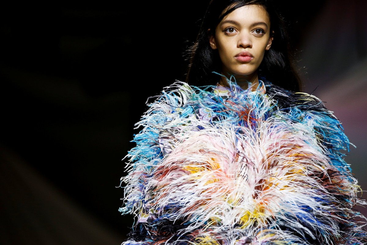 2252a83ade A model presents a creation during the Mary Katrantzou show at London  Fashion Week on February