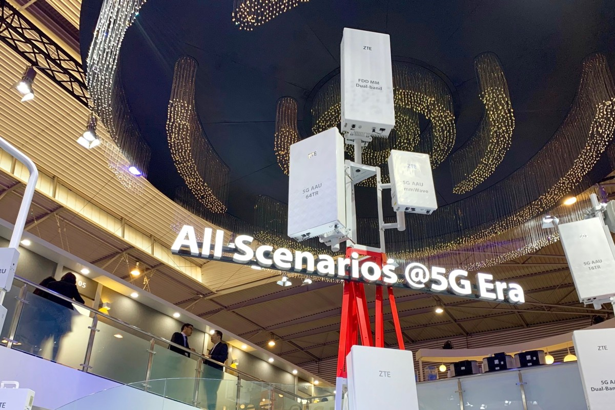 ca7997a217d Telecommunications equipment maker ZTE Corp displays its range of 5G mobile  base stations inside its booth