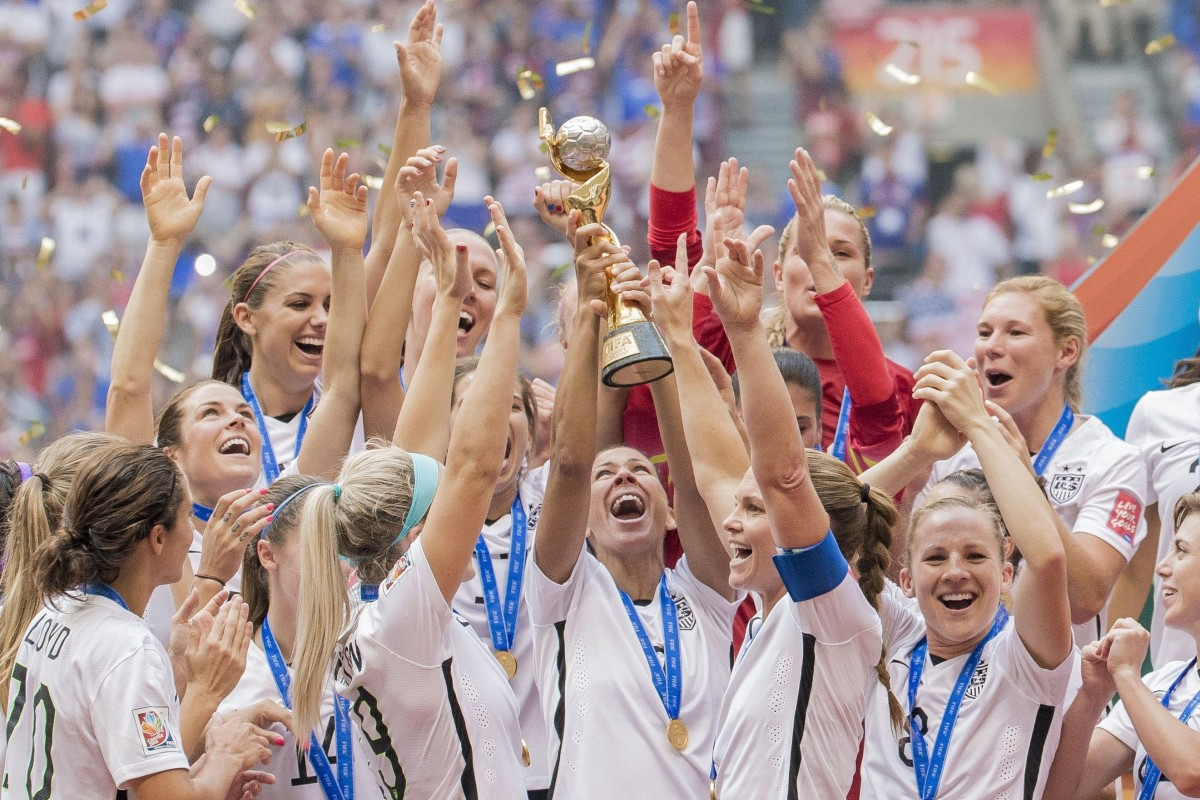 the usa team s players celebrate winning the fifa women s world cup 2015 final photo