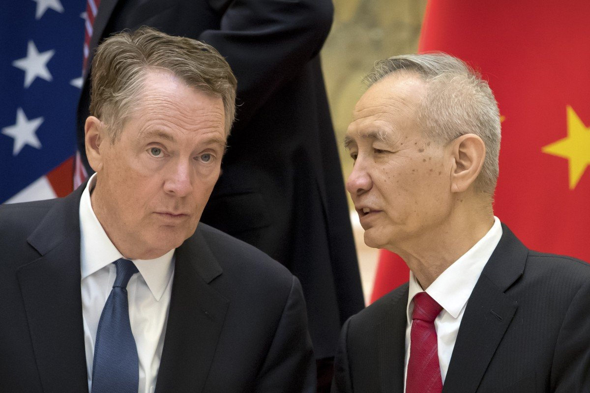 US trade representative Robert Lighthizer and Vice-Premier Liu He. Photo: AP