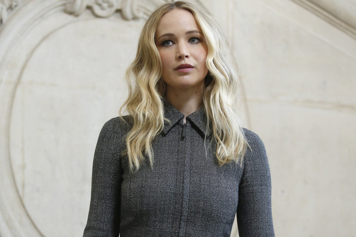 7bc63d79893 Actress Jennifer Lawrence arrives for Dior s fall winter collection show at  Paris Fashion Show on
