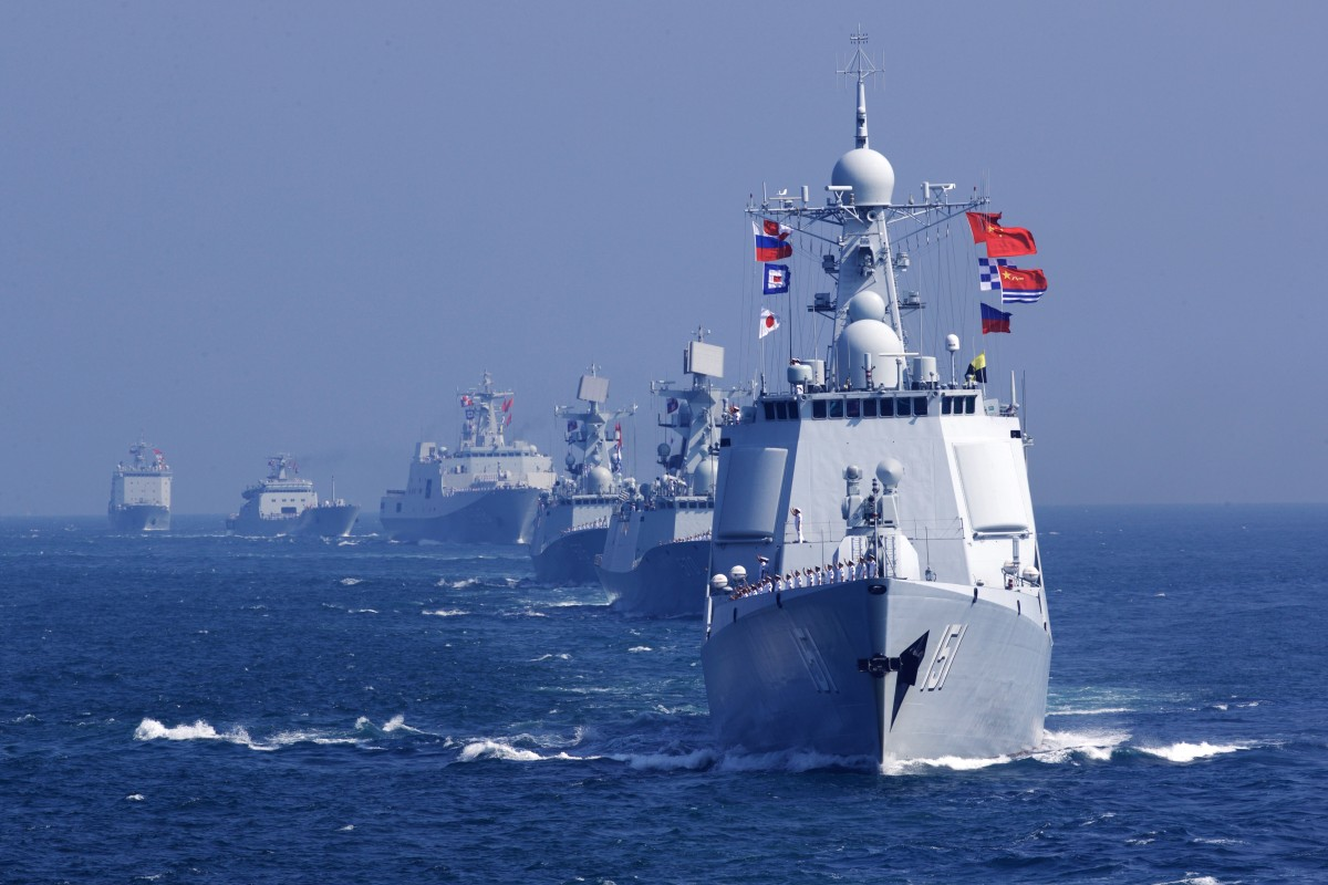Chinese warships pictured at the end of joint exercise with the Russian navy in 2016. Photo: Xinhua
