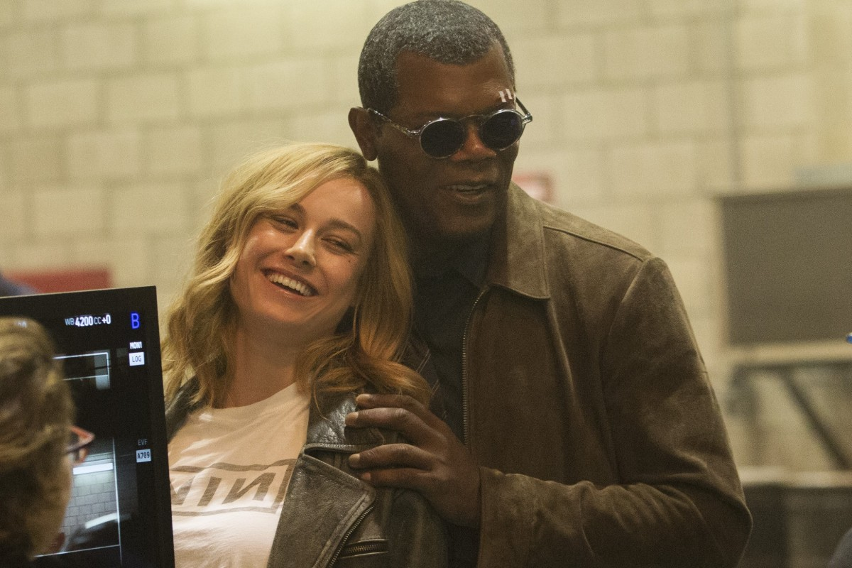 89ba0facd51 Brie Larson and Samuel L. Jackson on the set of Captain Marvel – the first