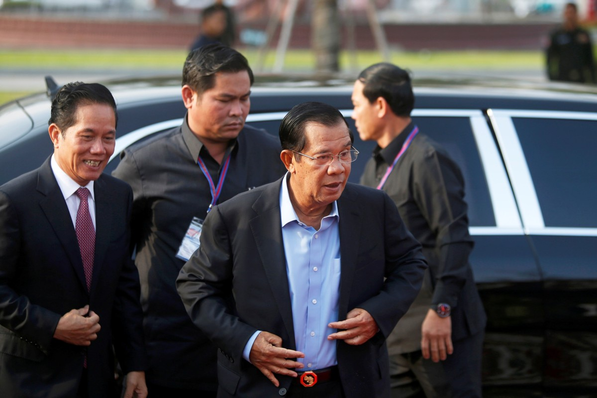 Cambodia's Prime Minister Hun Sen attends a groundbreaking ceremony for a flood prevention programme donated by Japan, in Phnom Penh on March 4, 2019. Photo: Reuters