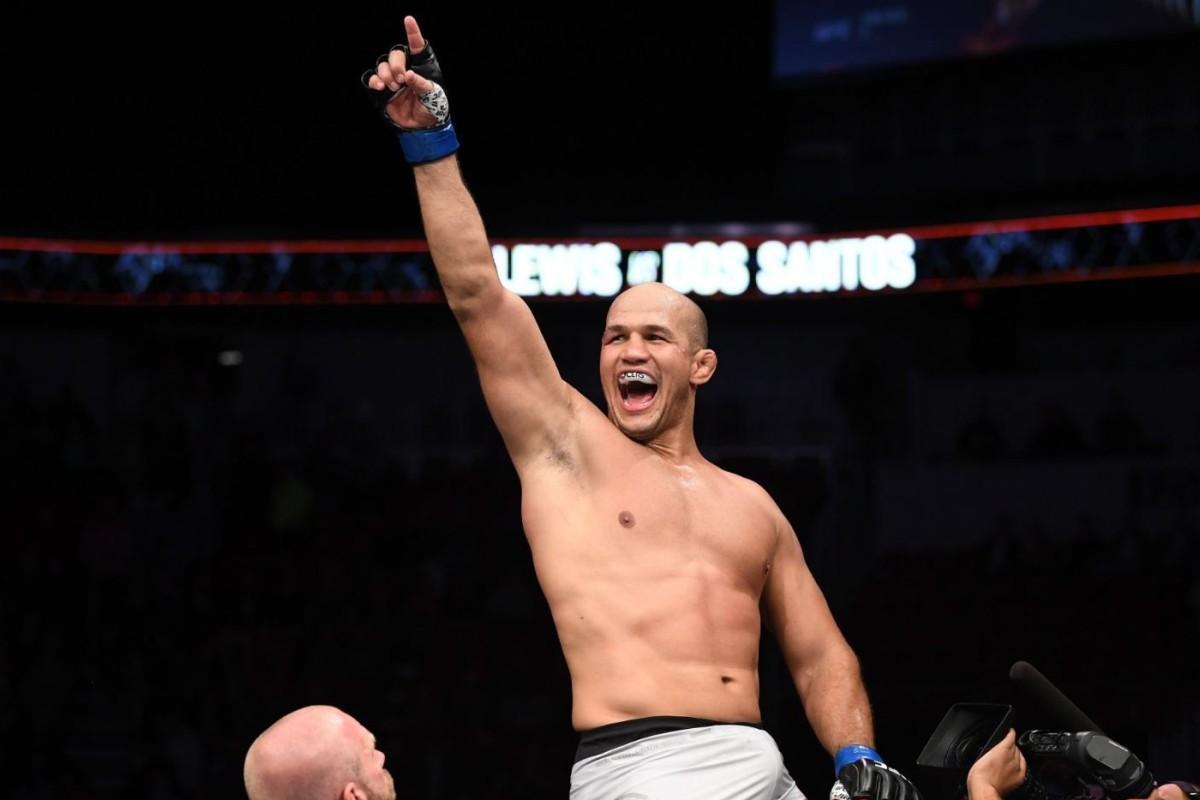 d0bfde51c47 Junior Dos Santos celebrates stopping Derrick Lewis at UFC Fight Night in  Wichita. Photo