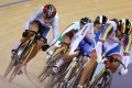 Hong Kong's Lee Wai-sze (left) in the first round of the women's keirin event in London.Photo: Felix Wong