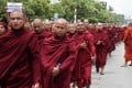 Myanmese Buddhist monks rally in Mandalay on Sunday in support of calls to deport the minority Rohingya Muslims. Photo: AFP