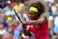 Serena Williams returns a shot against Andrea Hlavackova in New York on Monday. Photo: AFP