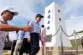 Taiwan President Ma Ying-jeou walks by a monument during an inspection of the Pengjia Islet in the East China Sea yesterday. Photo: AFP