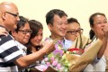 Raymond Chan (centre) of People Power celebrates victory in New Territories East. Photo: Edward Wong