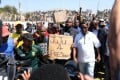 South African mine workers protesting earlier this month. Photo: AFP