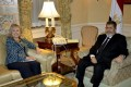 Hillary Rodham Clinton meets Mohammed Mursi. Photo: AFP