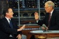 UK Prime Minister David Cameron talks with David Letterman in New York. Photo: AP