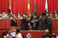 Sudan's President Omar al-Bashir (centre-left), and South Sudan's President Salva Kiir (centre-right) shake hands at the conclusion of the Sudan and South Sudan negotiations on post-secession matters in Addis Ababa on Thursday. Photo: AFP