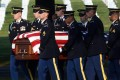 A burial service at Arlington cemetery, Virginia, for US Army Chief Warrant Officer Thalia Ramirez who was killed on duty in Afghanistan. Photo: EPA