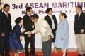 Philippines Vice-President Jejomar Binay (front, right) greets Lao Ambassador Malayvieng Sakonhninhom (left) at the Asean Maritime Forum in Manila on Wednesday. Photo: EPA