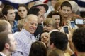 Vice President Joe Biden poses for photos with supporters during a campaign event in Asheville, North Carolina, on Tuesday. Photo: AP