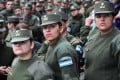 Hundreds of Gendarmerie members join the protest rally in Buenos Aires on Wednesday. Photo: EPA