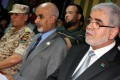 Mustafa Abushagur (right) with Mohamed al-Megaryef (centre), president of the General National Congress, and Libyan army chief of staff Yussef al-Manqush (left) at a press conference on September 23. Photo: AFP