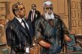 A courtroom sketch of British radical Islamic preacher Abu Hamza on Tuesday. Photo: AFP
