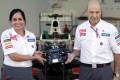 New Sauber chief Monisha Kaltenborn with outgoing principal Peter Sauber at the Korea International Circuit in Yeongam. Photo: Reuters