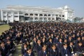 Schoolchildren gather in front of The City Montessori School in Lucknow, India, as it was officially made the biggest school in the world. Photo: AFP