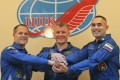 Nasa astronaut Kevin Ford (left) and Russian cosmonauts Oleg Novitsky (centre) and Yevgeny Tarelkin at the Cosmodrome Baikonur on October 22. Photo: EPA