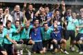 Kitchee players celebrate their winning at Football FA Cup final between TSW Pegasus and Kitchee at Hong Kong Stadium.