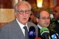 Peace envoy Lakhdar Brahimi holds a press conference in Damascus. Photo: AFP