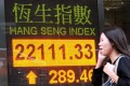 An electronic board shows the close of the Hang Seng Index in Central. Photo: Xinhua