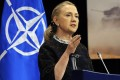 US Secretary of State Hillary Clinton and Nato ministers discuss Syria at the organisation's headquarters in Brussels on Tuesday. Photo: AFP
