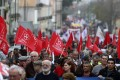 Unions protest government austerity measures in Lisbon on Saturday. Businesses are closing and unemployment is rising as a result of tough spending cutbacks imposed as part of a bailout of the Portuguese economy. Photo: AFP