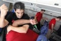 Participants learn self-defence skills during a training session held by Krav Maga Hong Kong in a mock aircraft cabin. Photo: Nora Tam
