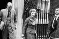 Margaret Thatcher leaves No 10 Downing Street for an emergency session of Parliament on the Falklands crisis on April 14, 1982. Photo: AP