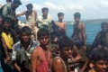 Rohingya refugees sit in a boat as they are intercepted by Thai authorities off the sea in Phuket, southern Thailand. Photo: AP
