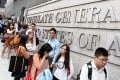 Students queue for an event at the US Consulate General in November Admiralty. Photo: Sam Tsang