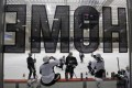 Pittsburgh Penguins players practise at a local ice rink. Photo: AP