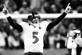 Baltimore Ravens quarterback Joe Flacco celebrates his 70-yard touchdown pass to Jacoby Jones late in the fourth quarter against the Denver Broncos. Photo: MCT