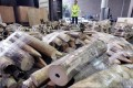 Hong Kong Customs seized a total of 779 pieces of ivory tusk, worth about $10.6 million, inside a container shipped to Hong Kong last week. Photo: Felix Wong