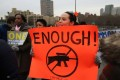 Gun control activists march across Brooklyn Bridge. Photo: AFP