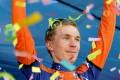 Tom Slagter celebrates on the podium in Adelaide. Photo: EPA