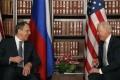 Joe Biden and Sergei Lavrov (left) share a laugh. Photo: AP