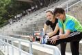 Rachel Jacqueline (black top) trains with top local female marathon runner, Alison Chow. Photo: Nora Tam